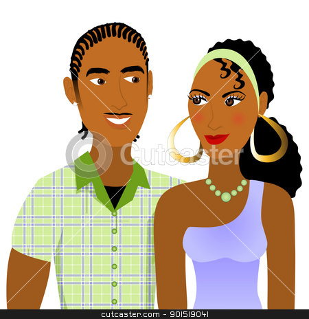 Couple in Love stock vector clipart, Vector Illustration of a Couple in love. by Basheera Hassanali