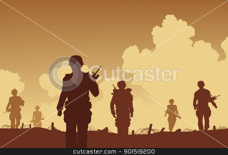 On patrol stock vector clipart, Editable vector illustration soldiers walking on patrol  by Robert Adrian Hillman