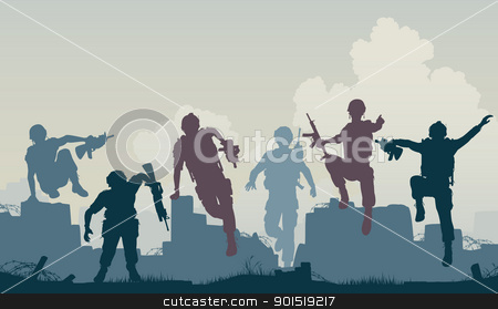 Soldiers advance stock vector clipart, Editable vector silhouettes of armed soldiers charging forward by Robert Adrian Hillman