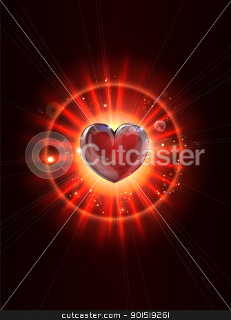 Dynamic light rays heart illustration stock vector clipart, A dynamic funky cool light rays valentines heart illustration by Christos Georghiou