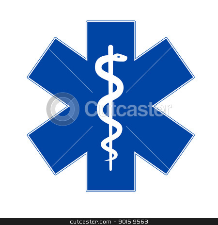 Emergency medicine symbol asclepius stock vector clipart, Emergency medicine symbol asclepius isolated on white by lkeskinen
