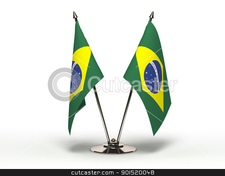 Miniature Flag of Brazil (Isolated) stock photo, Miniature Flag of Brazil (Isolated with clipping path) by bosphorus