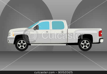 Pick up truck  stock vector clipart, Pick up truck illustration with background by lkeskinen