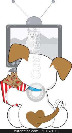 Cute Puppy TV stock vector clipart, A small puppy is sitting in front of the TV, with a red striped container full of dog bones. by Maria Bell