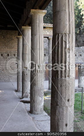 Columns in Pompeii stock photo, Large well preserved columns in the Roman city of Pompeii.  It was completely buried by an eruption of Mount Vesuvius in AD 79.  by Chris Hill