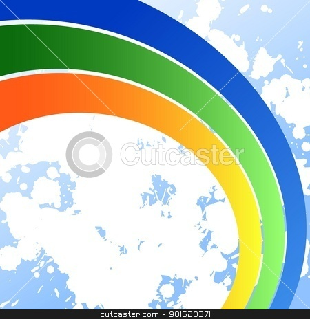 Vector illustration stock vector clipart, Vector illustration of rainbow in the sky by Myvector
