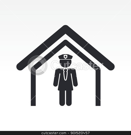 Vector illustration stock vector clipart, Vector illustration of female cop in police station by Myvector
