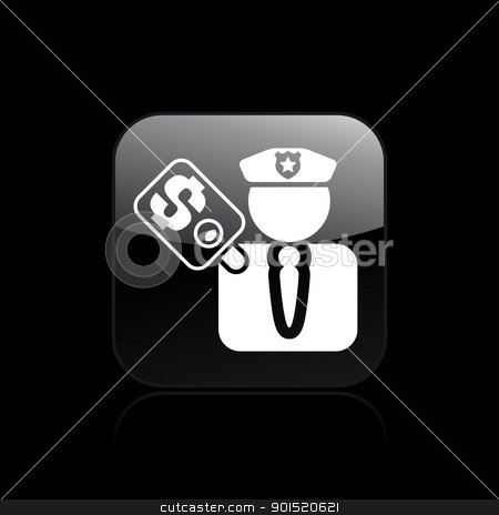 Vector illustration stock vector clipart, Vector illustration of corrupt policeman single isolated icon by Myvector