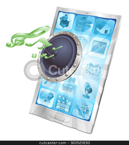 Speaker icon phone concept stock vector clipart, Speaker icon coming out of phone screen concept by Christos Georghiou