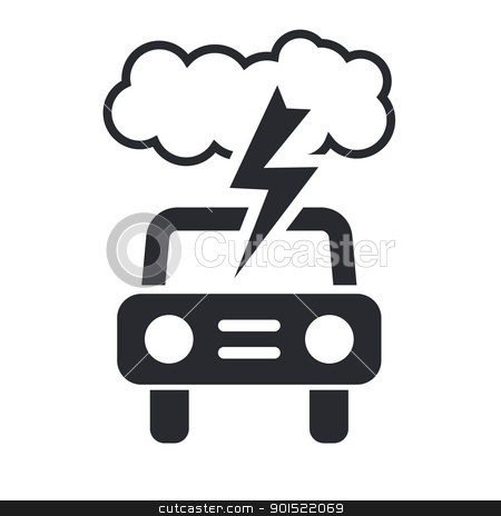 Vector illustration stock vector clipart, Vector illustration of single isolated car storm icon  by Myvector