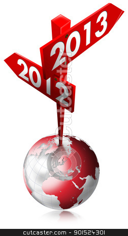 2012-2013 Red Sign stock photo, Red Sign with two arrows and written 2012-2013 over the globe