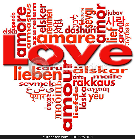 I Love to Love stock photo, Love written in major languages of the world in the shape of heart  by catalby
