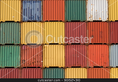 Colorful ship cargo containers stacked up in a port. stock photo, Colorful ship cargo containers stacked up in a port. by Stephen Rees