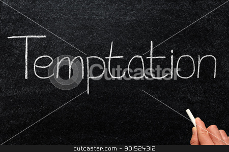 Writing temptation with white chalk on a blackboard. stock photo, Writing temptation with white chalk on a blackboard. by Stephen Rees