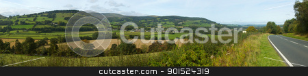 Panoramic view the Usk valley and A40 road in Wales UK. stock photo, Panoramic view the Usk valley and A40 road in Wales UK. by Stephen Rees