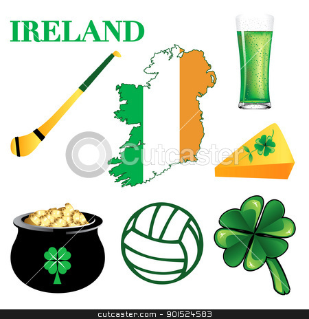 Ireland Icons  stock vector clipart, Vector Illustration for Ireland. Irish Button Icons by Basheera Hassanali