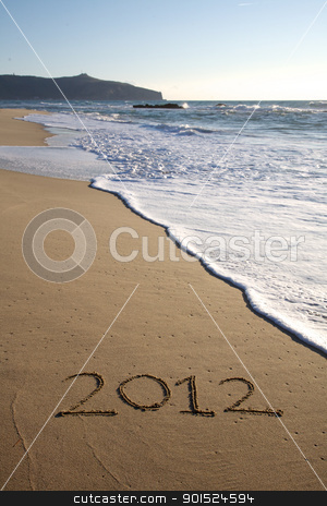 2012 written on the beach vertical stock photo, 2012 written on the beach vertical in south of italy by federico marsicano