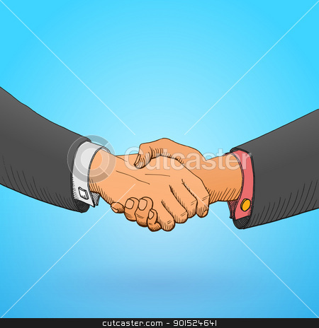 Handshake Illustration stock vector clipart, Illustration of formal business handshake on blue background by Vitezslav Valka