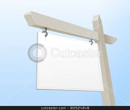 White Real Estate Sign stock vector clipart, Vector Illustration of White Blank Property Offer Sign by Vitezslav Valka