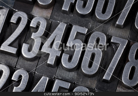 numbers in old metal type stock photo, number abstract - vintage grunge metal printing blocks scratched and stained by Marek Uliasz