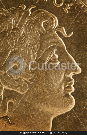 Alexander the Great portrait stock photo, Alexander the Great profile portrait, Greek king of Macedon  - magnified detail from old scratched coin by Marek Uliasz