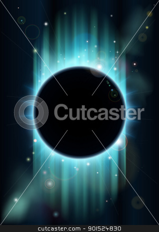 Abstract eclipse background stock vector clipart, An abstract blue and green eclipse space background with copyspace in the center by Christos Georghiou