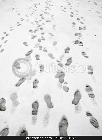 Lots of footprints in snow. stock photo, Lots of footprints in snow. by Stephen Rees