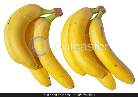 Two bunches of bananas isolated on a white background. stock photo, Two bunches of bananas isolated on a white background. by Stephen Rees