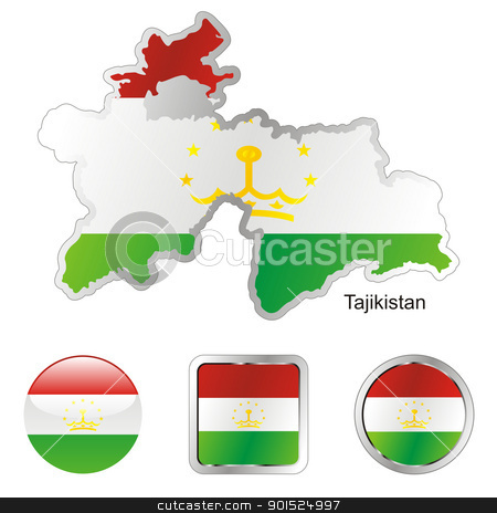tajikistan in map and internet buttons shape stock vector clipart, fully editable flag of tajikistan in map and internet buttons shape by pilgrim.artworks