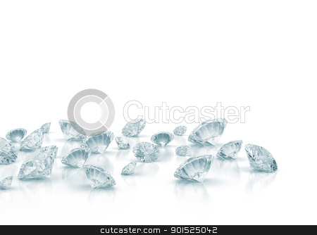 Diamonds stock photo, Diamonds isolated on white  by Jesper Klausen