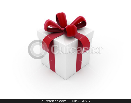 gift box with red ribbon stock photo, White gift box with red ribbon by Jesper Klausen