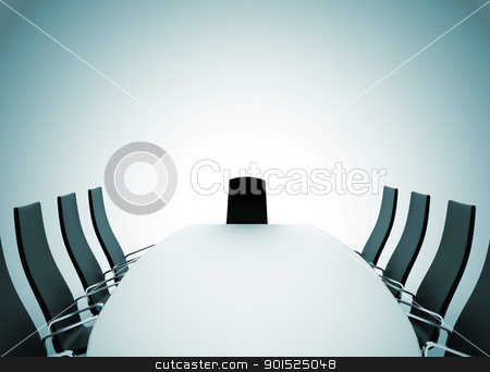 Conference room  stock photo, Boardroom table and chairs on white background by Jesper Klausen