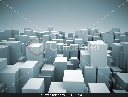 Abstract city illustration stock photo, Abstract city made of cubes by Jesper Klausen