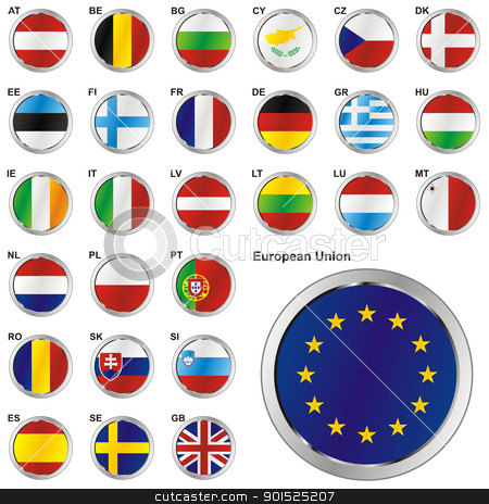 Member States of the European Union in web button shape stock vector clipart, fully editable vector illustration of all twentyseven Member States of the European Union in web button shape by pilgrim.artworks