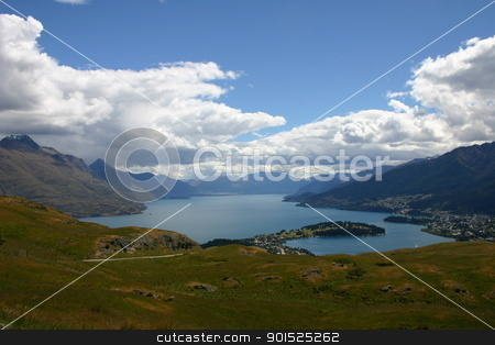 Queenstown stock photo, Panorama of Queenstown and Lake Wakatipu, New Zealand by DirkR