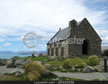 Church of the good shepherd stock photo, The Church of the good shepherd, a small chapel on the coast of Lake Tekapo, New Zealand by DirkR
