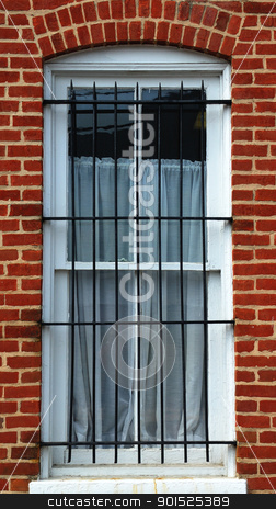 Barred Window stock photo, Photograph of an old window with security bars. by Lee Photography