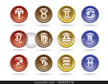 Zodiac signs Glossy icons stock vector clipart, Zodiac signs Glossy icons. Vector illustration. by antkevyv