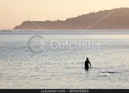 Misty sunrise with snorkler stock photo, Silhoutted snorkling man on beach in Kauai at sunrise by Steven Heap