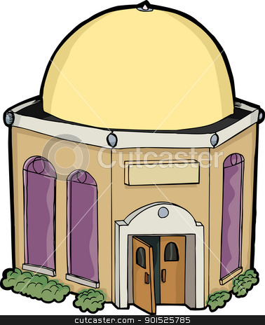 Little House of Worship stock vector clipart, Small generic religious building for any religion by Eric Basir