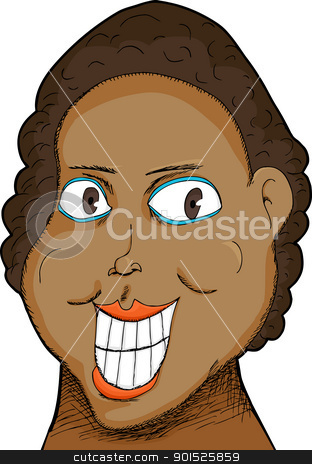 Woman with Big Grin stock vector clipart, Caricature of a Black woman with big grin over white by Eric Basir