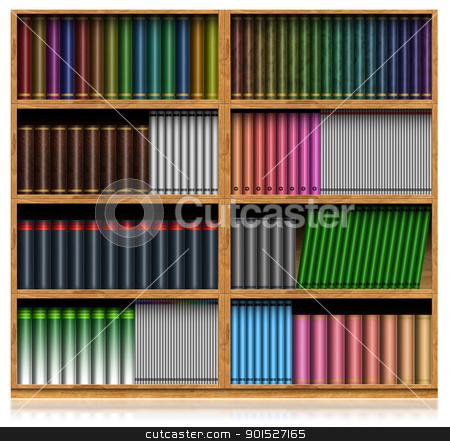 Wooden Bookshelf Isolated On White stock photo, Color books with blank covers in wooden bookshelf isolated on white background  by catalby