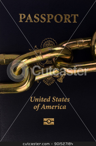 Passport. stock photo, American passport in chains. by WScott