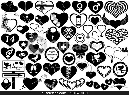 Hearts stock vector clipart, Different hearts isolated on white by Ioana Martalogu