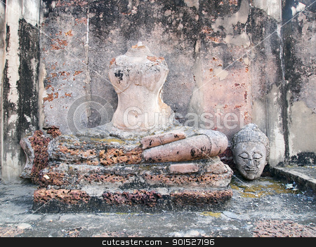 Buddha head is broken stock photo, Buddha head is broken by Paisan  Changhirun