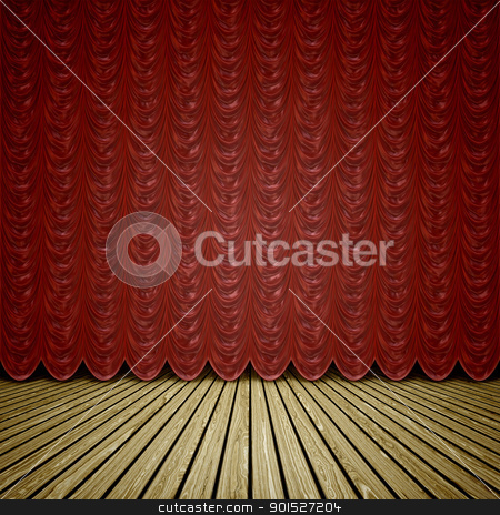 stage red curtain stock photo, A wooden stage with a red curtain background by Markus Gann