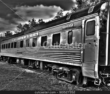 HDR surreeal pullman car stock photo, HDR photo image of a surreal pullman rail car by P.J. Lalli