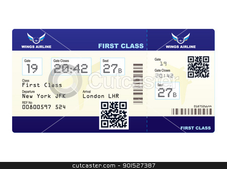 Plane ticket QR code stock vector clipart, Fake plane ticket with scan smart barcode modern QR code by Michael Travers