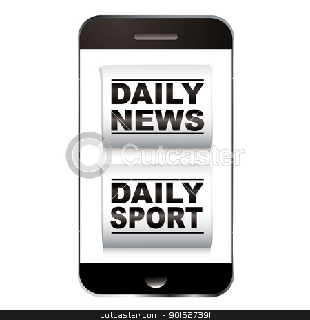 Smart phone sport news stock vector clipart, Smart phone with news and sport newspaper icon by Michael Travers