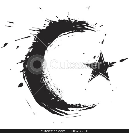 Islam symbol stock vector clipart, Islamic religion symbol created in grunge style by Oxygen64